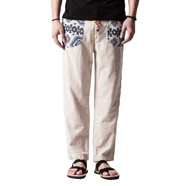 Calças de Linho De algodão Homens Japoneses Calças Masculinas Casuais Bottoms Impressão Tornozelo Comprimento Designer Desgaste do Trabalho