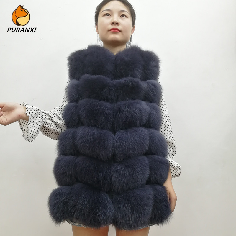 Jacket Coats Vest Short Real-Fox-Fur Natural Winter Women Luxury Genuine Thick New-Fashion