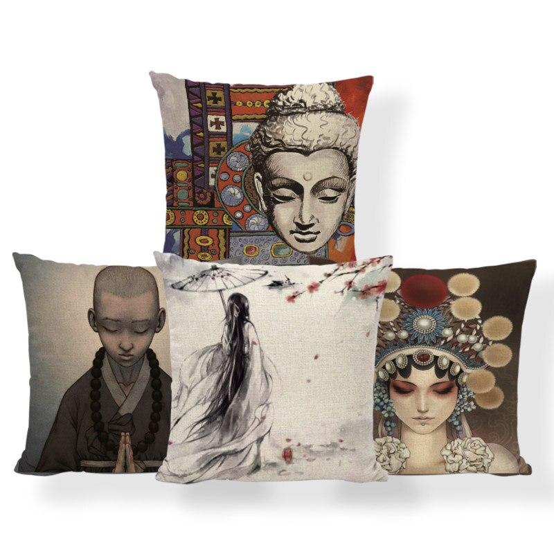Style; In Mandala Buddhism Cushions Geometry Yellow Pink Pillowcase Nordic Sofa Improvement Decorating Throw Pillow Cushion Large Linen Fashionable