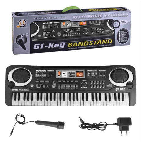 61 teclas teclado de piano eletronico com microfone brinquedos criancas early learningtoy instrumento musical brinquedos