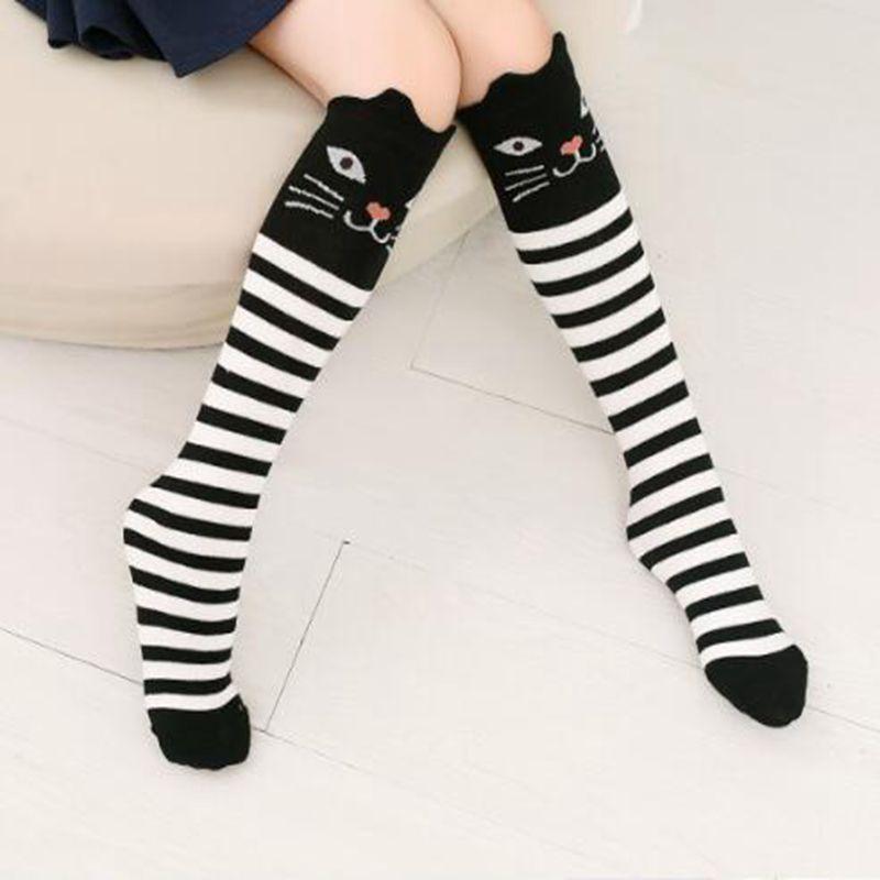 6937ca451 Detail Feedback Questions about Kids Girl Stripe Over Knee High Socks Cute  Cat Bear Girl Stockings Kids Long Socks Leg Warmer Cotton Baby Socks on ...