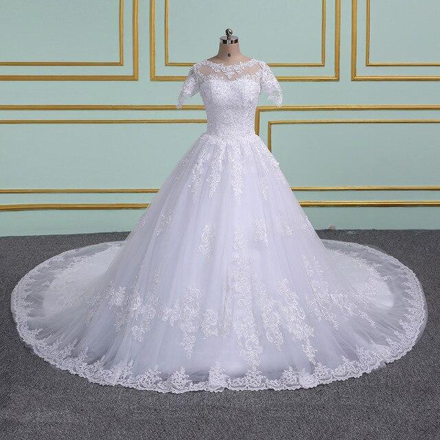 Robe de mariage Luxury Ball Gown Wedding Dresses 2019 Applique Pearls  cathedral Train Bride Gown Vestido De Noiva 1b0ff89888d2