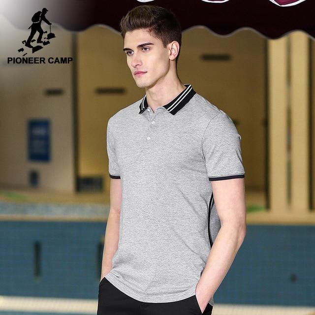 פיוניר מחנה חדש קצר חולצת פולו גברים מותג בגדי פשוט מקרית טלאים polos זכר למעלה איכות 100% כותנה אפור ACP703084