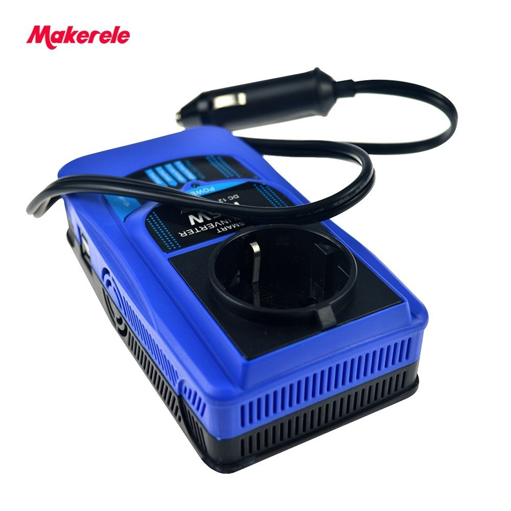 цена на 12vdc to 220vac power car inverter 120/150/175w output double usb 5v new style modified sine wave for car with wire