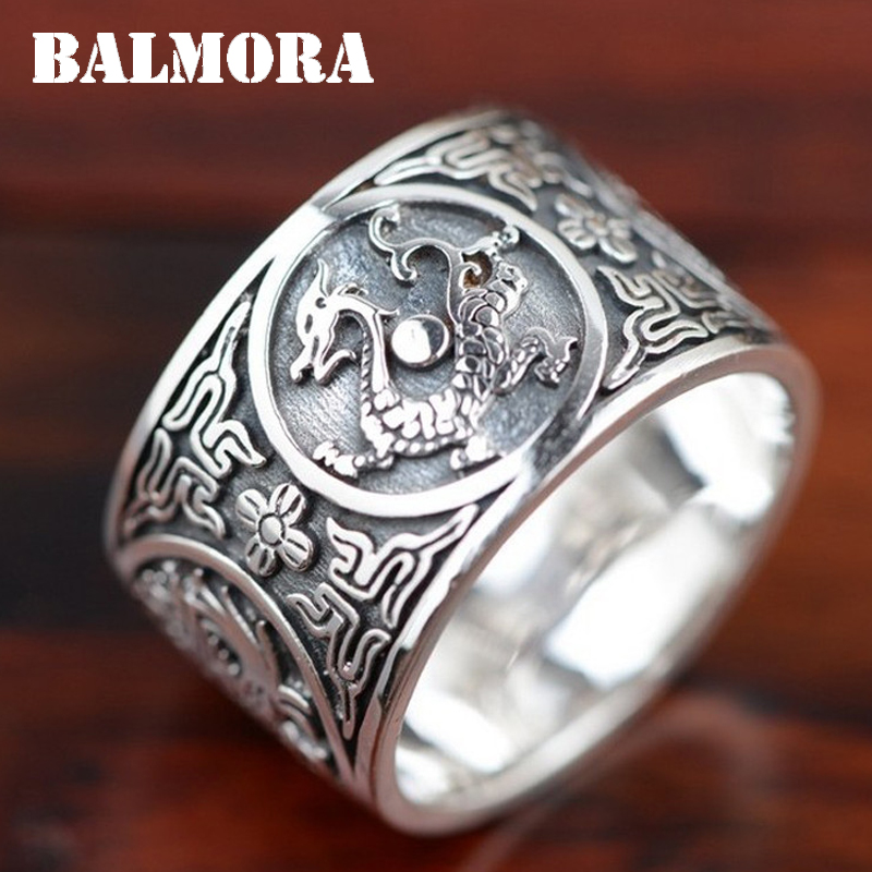 BALMORA 100% Real 999 Pure Silver Jewelry Vintage Dragon Rings for Men Male High Quality Silver Ring Jewelry Anillos XHR045115w balmora 999 pure silver buddha