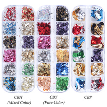 1pcs Aluminum Flakes Sequins Nail Glitter Powder Irregular Mirror Chrome Pigment Paillette Foil Manicure Nail Art Decor JI950