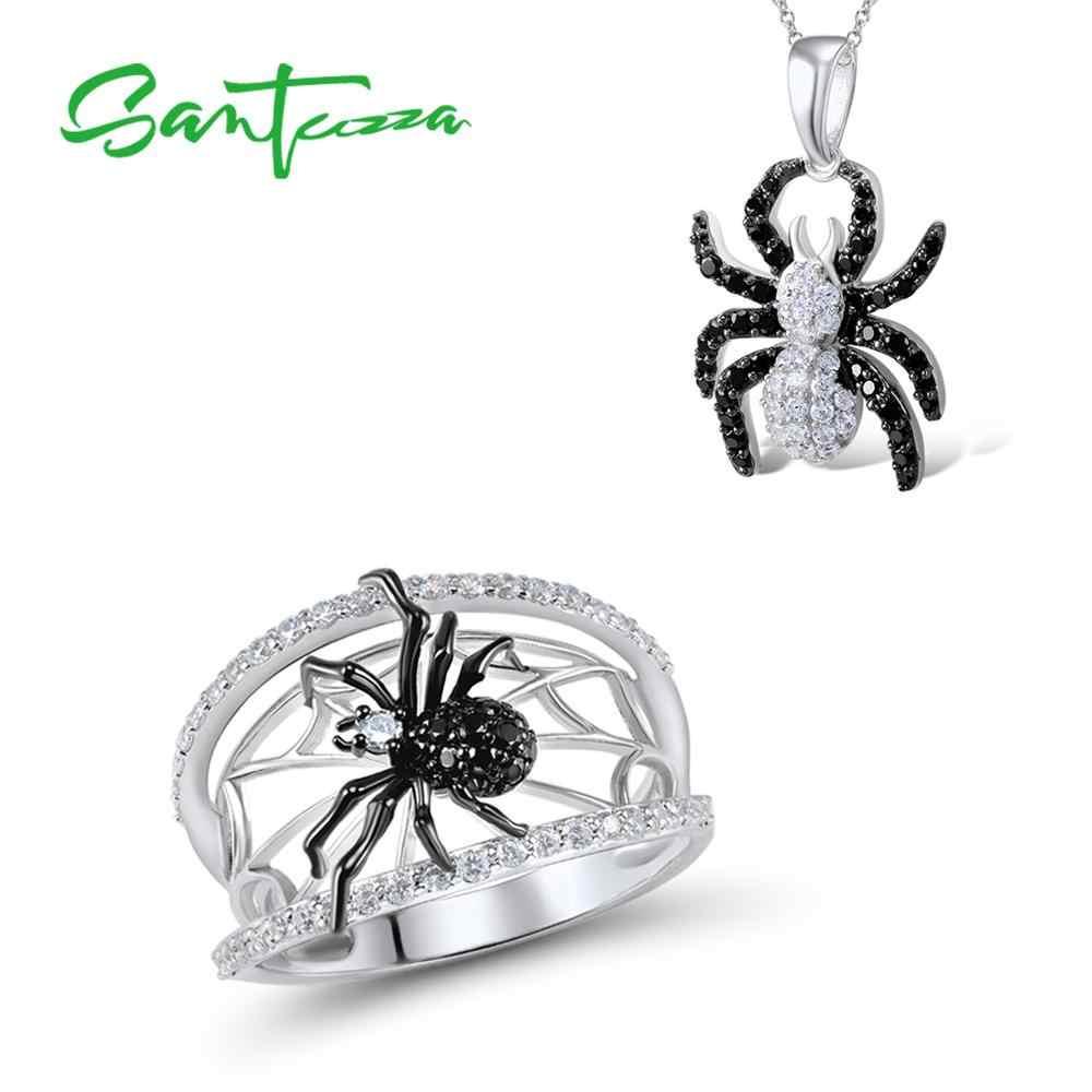 SANTUZZA украшения в виде пауков набор для женщин натуральный черный камни  Кольцо Кулон Набор из натуральной 1735e6b0620
