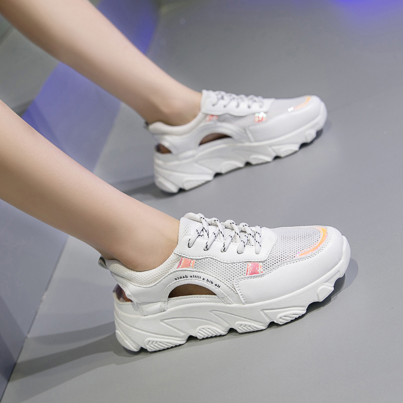 2019 Brand Summer Women White Sneakers New Breathable Mesh Vulcanized Shoes Height Increase Chunky Shoes Woman Zapatos De Mujer