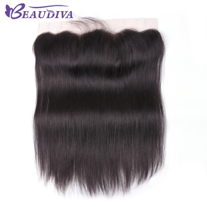 Beaudiva Hair Brazilian Straight Human Hair Lace Frontal Closure 13x4 Middle/Free Part Swiss Lace 100% Remy Natural Hairline