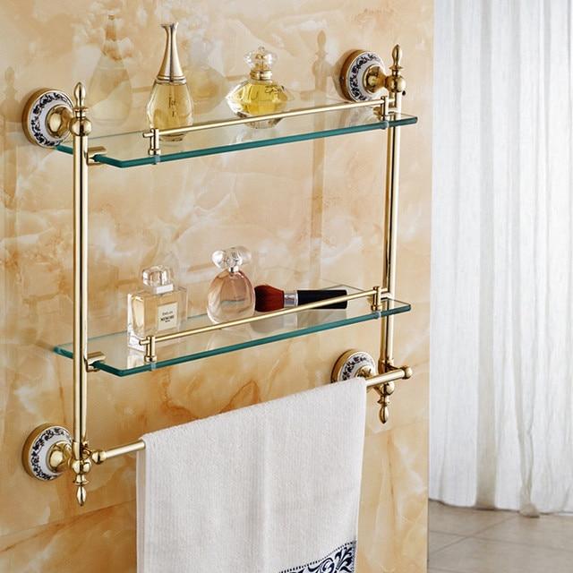 Badezimmer Regale Goldene Messing Blauen und Weißen Porzellan Wand ...