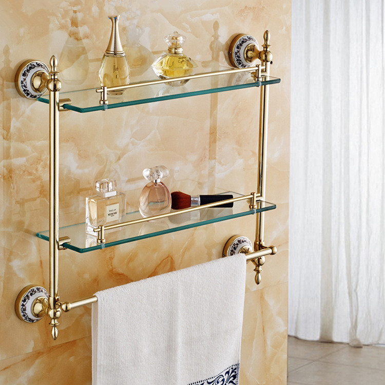 Bathroom Shelves Golden Brass Blue and White Porcelain Wall Mounted Bathroom Shelf Dual Tiers Shower Storage Rack Holder 6316B factory outlet iron bathroom shelf storage rack shelves multilayer promotions