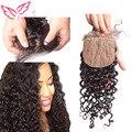 7A brasileiro profunda Curly seda Base de encerramento 100% virgem do cabelo humano de 3 profunda fechamento superior de seda Curly frete grátis