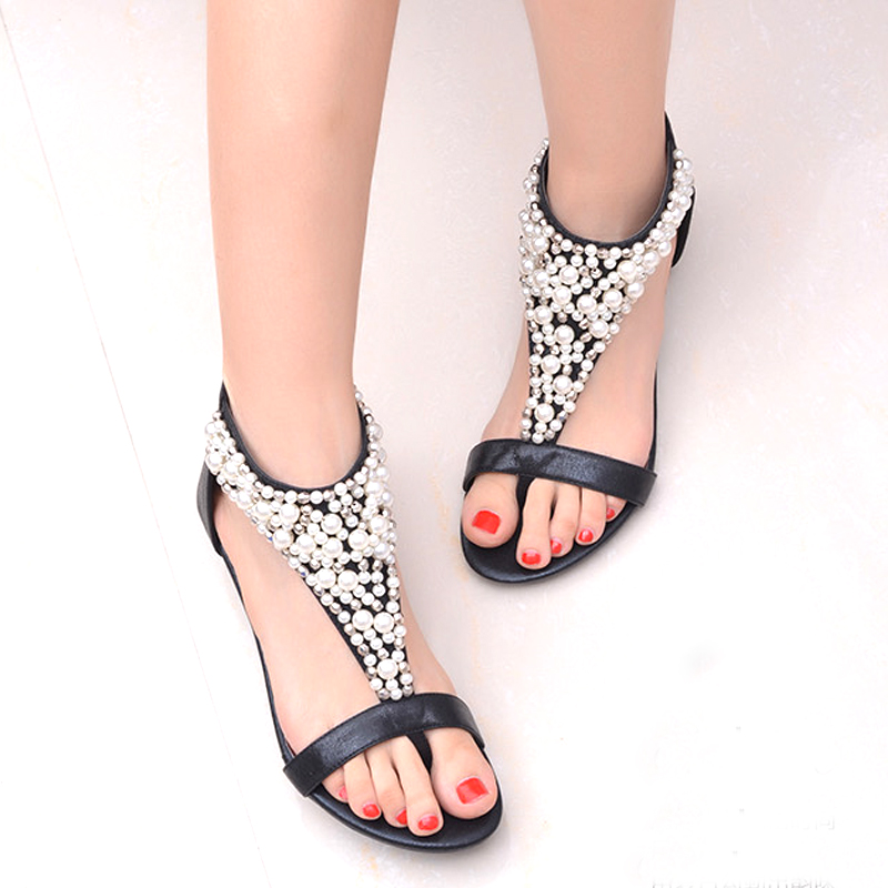 6a39a21b68980 Summer Shoes Sandals For Women Fashion Bohemia Gladiator Sandals Women  Wedge Ladies Thong Flats Sandals With Bead Black Gold-in Low Heels from  Shoes on ...