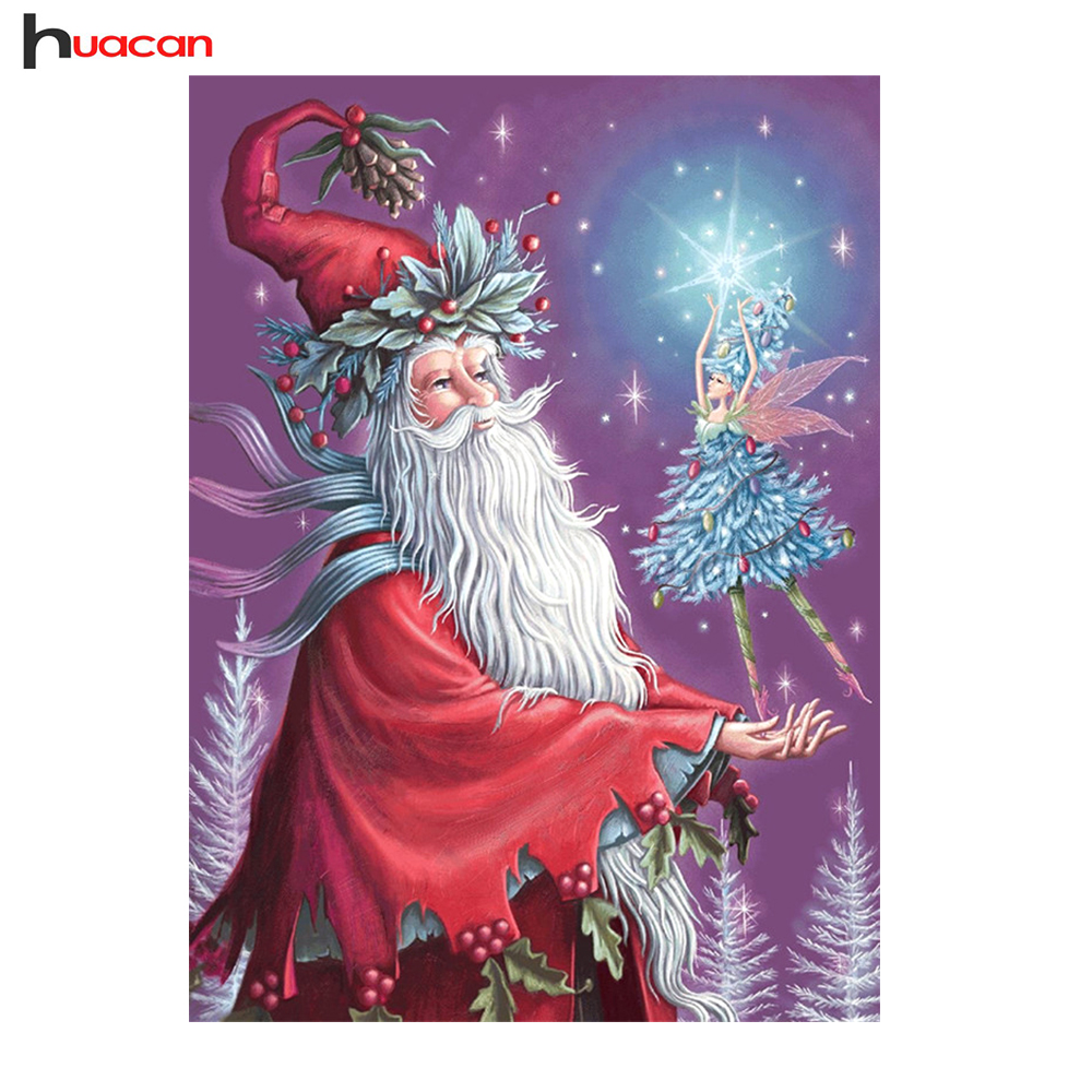 HUACAN Santa Claus Diamant Malerei 4 Farben Volle Quadrat Mosaik ...