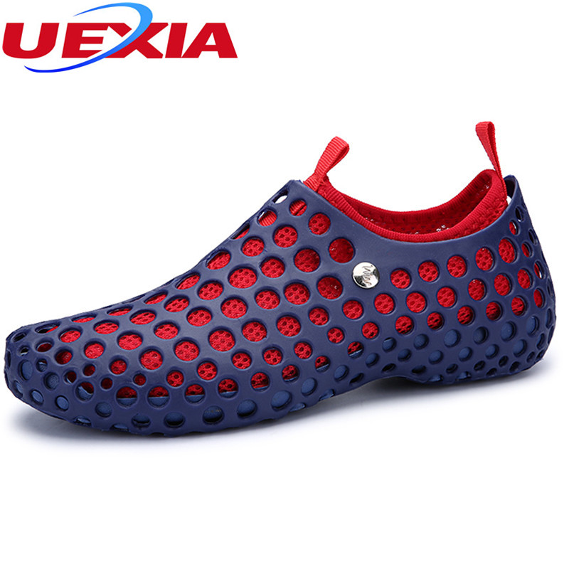 Men Breathable Hollow Lover Double layer Mesh Shoes Unisex Flat Casual Beach Sandalias 2017 New Summer Couple Hole Sandals a income summer lover unisex hole hollow sandals mules footwear couple shoe women anti skid beach flats casual shoes sandalias