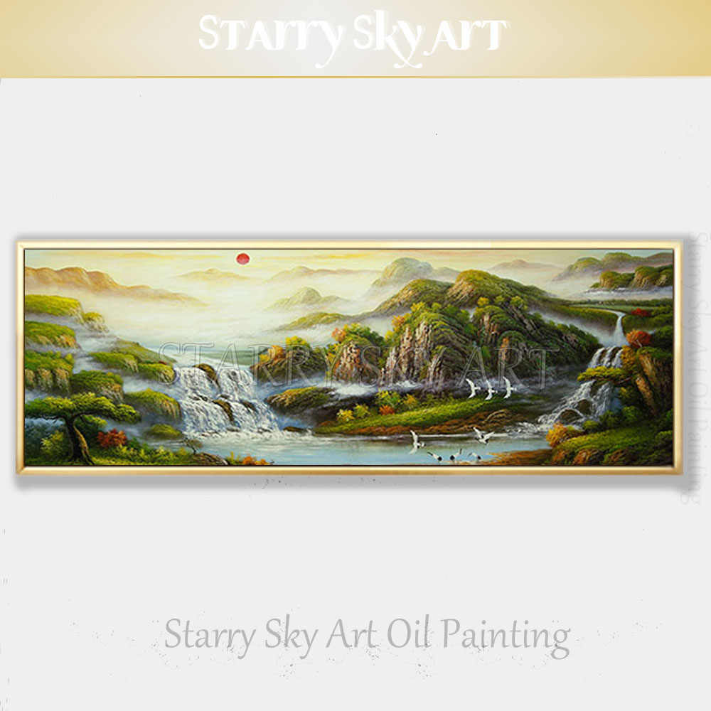 New Arrivals Tradition Chinese FengShui Oil Painting on Canvas Beautiful Feng Shui Scene Oil Painting Be Rich Landscape Painting