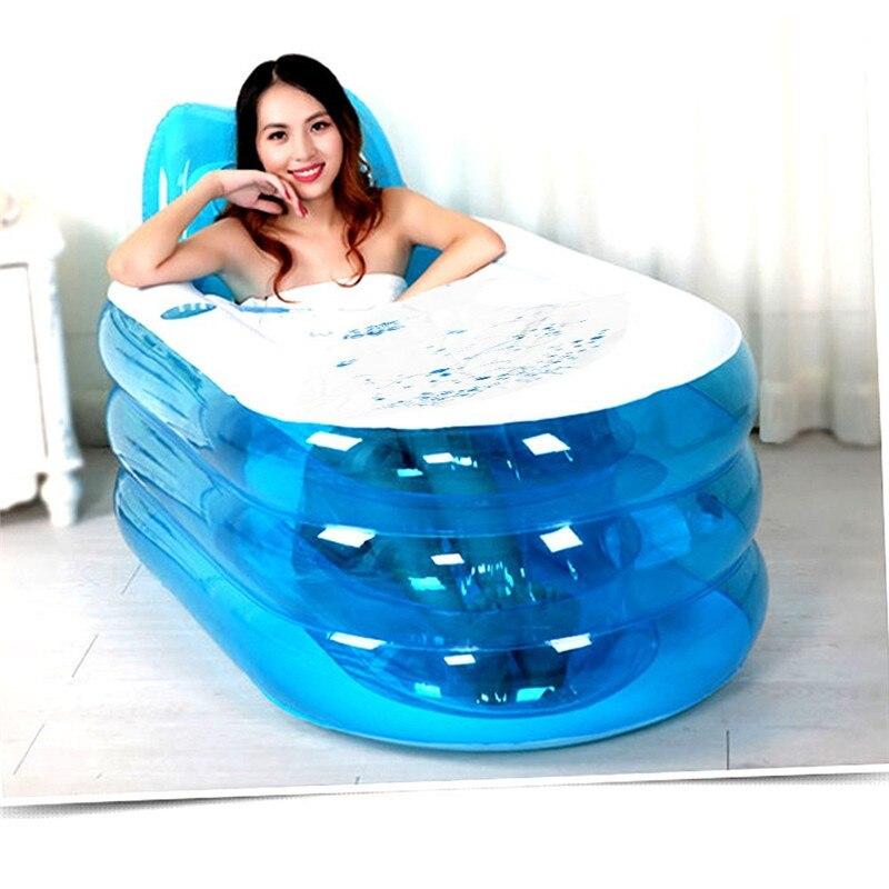 Adulte gonflable Durable pliable de baignoire de station thermale avec la pompe à Air, ensemble d'accessoires de salle de bains, pose couchée, taille intérieure de 95*45*45 cm