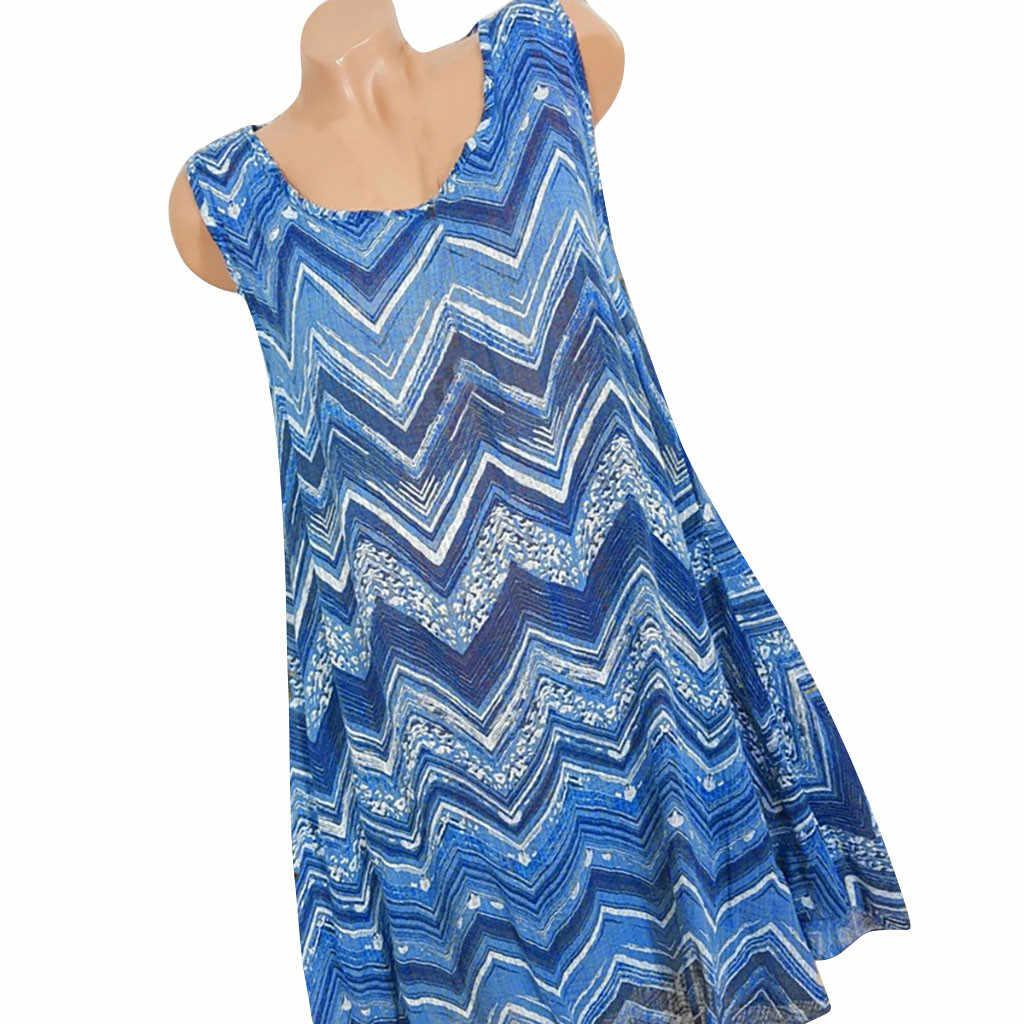 Zanzea Jurk Voor vrouwen Zomer Zonnejurk Fashion Womens Plus Size O-hals Rimpel Afdrukken Mouwloos Hemdje vestidos de festa