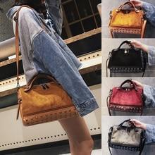 4 Colors PU Leather Women's Bag Rivet Tote Female Handbags Shoulder Bag Motorcycle Crossbody Bags for Women Messenger Vintage стоимость