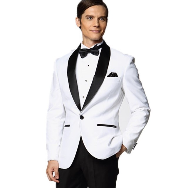 Hot White Wedding Suits For Men Black Shawl Lapel Groomsmen Tuxedos ...