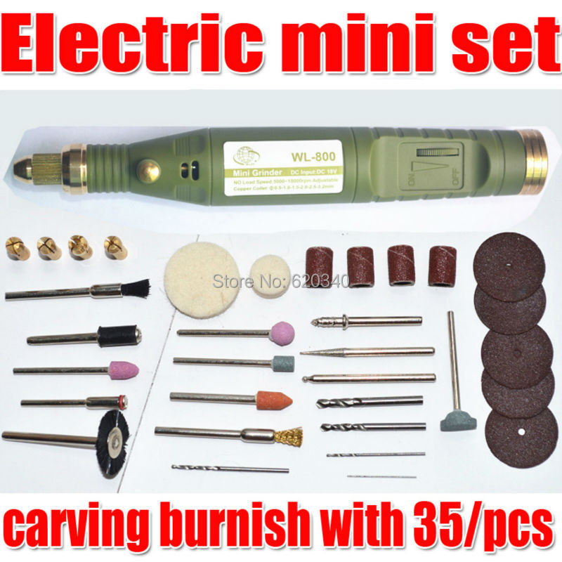 Free Shipping Electric font b Tools b font Mini Drill carving burnish with 35 pcs Multifunction