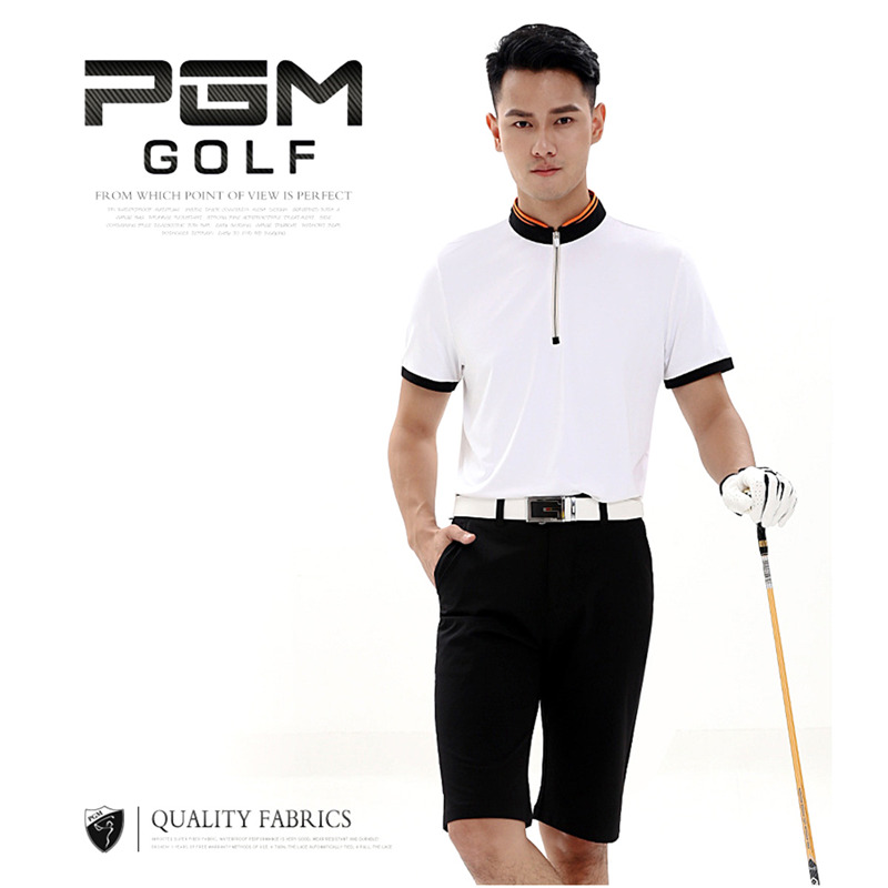 Nylon Leisure Mens Golf T-shirt Golf Clubs Short-sleeve Golf shirt Polo Breathable Elastic Solid Golf Clothing 3 Colors