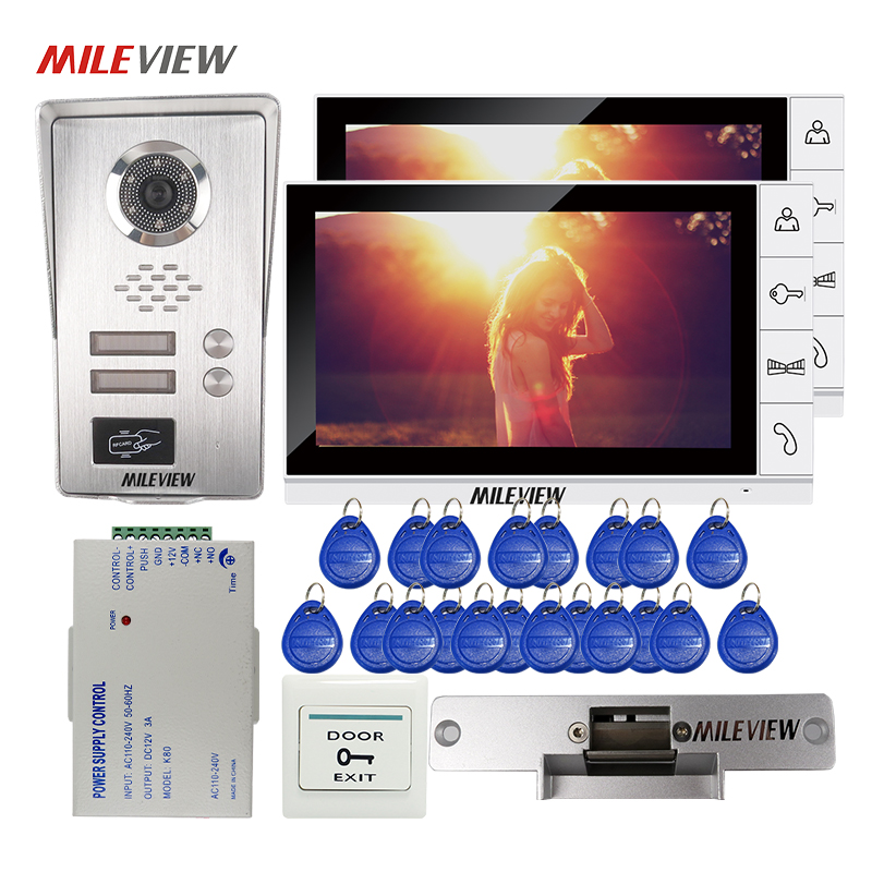 FREE SHIPPING 9 LCD Monitor Video Door Phone Intercom System 2 Screens RFID Unlock Camera for 2 Apartment Electric Strike Lock m190etn01 0 lcd display screens