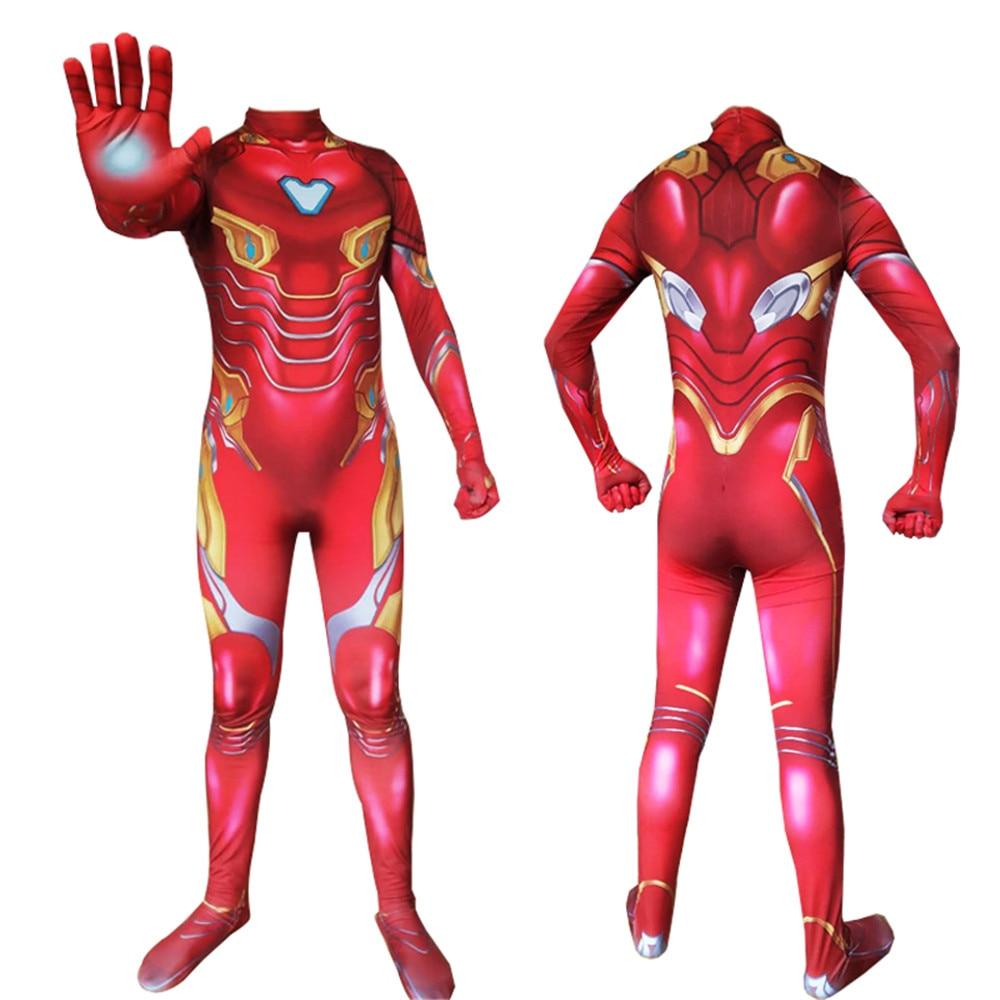 Beducht Film The Avengers 4 Iron Man Cosplay Kostuums Tony Stark Volwassen Kid Spandex Jumpsuits Zentai Halloween Party Kostuum
