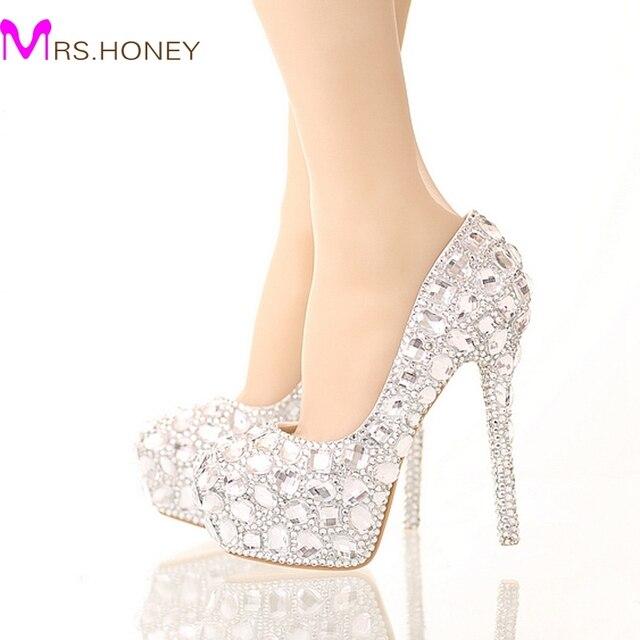 Noiva de Cristal Sapatos de Casamento Strass Sapatos De Salto Alto Prata Plataforma Sapatos de Eventos Mulheres Moda Artesanal Vestido de Festa Sapatos