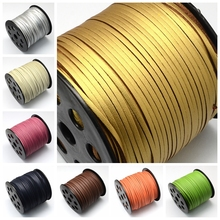 1 Roll 90 m/rollo 2.7×1.4mm CALIENTE Faux Suede Cord Thread Accesorios de La Joyería DIY Making, un Lado Que Cubre con Cuero de Imitación