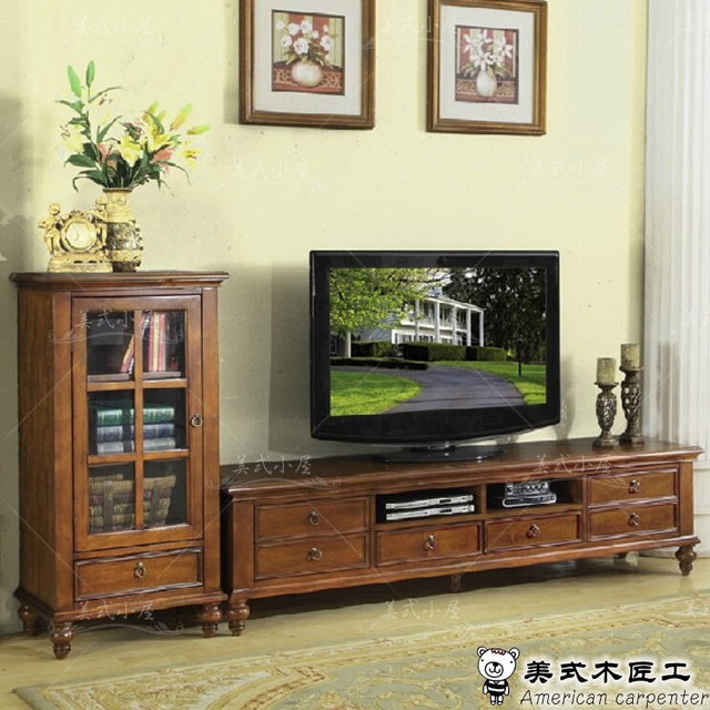 American country European solid wood TV cabinet audio visual ...