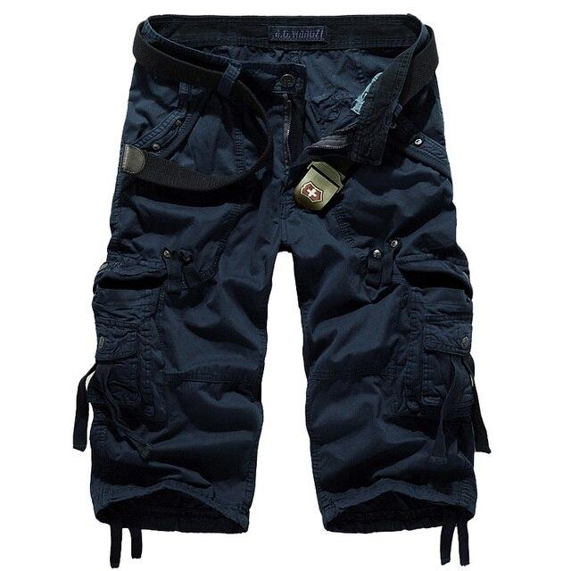 Cortadas Calças de Designer de Moda dos homens de alta Qualidade Multi-bolso AF5820 Plussize Casual Ferramental Algodão Capri Calças Dos Homens Em Geral
