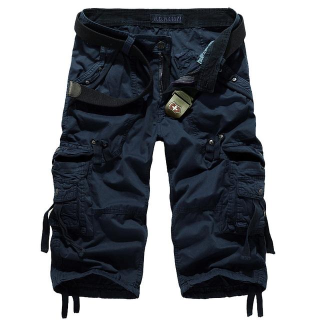 Fashion Multi-pocket Plussize Casual Tooling Cotton Capri Pants Men Overall AF5820