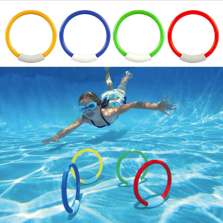 Dive Ring Swimming Pool Accessory Toy Swimming Aid For Children Water Play Sport Diving  Kids Pool Fun Beach Summer Toy 4PCS