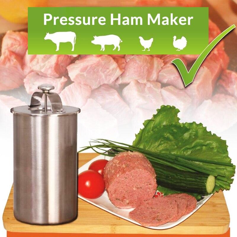 In Acciaio Inox Ham Carne Fare Pot Patty Maker Ham Premere con un Termometro Da Cucina Carne Strumento Carne Pentola di Cottura Ham Maker