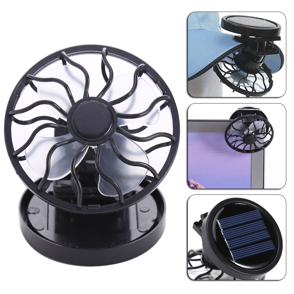 Mini Fan Electric Solar Cell Panel Air Sun Power Clip-on Cooling Cooler Camping