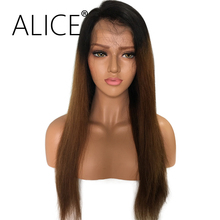 ALICE Straight Ombre Glueless Lace Front Human Hair Wigs For Black Women 10-24 Inch Remy Hair Brazilian Lace Wig Bleached Knots