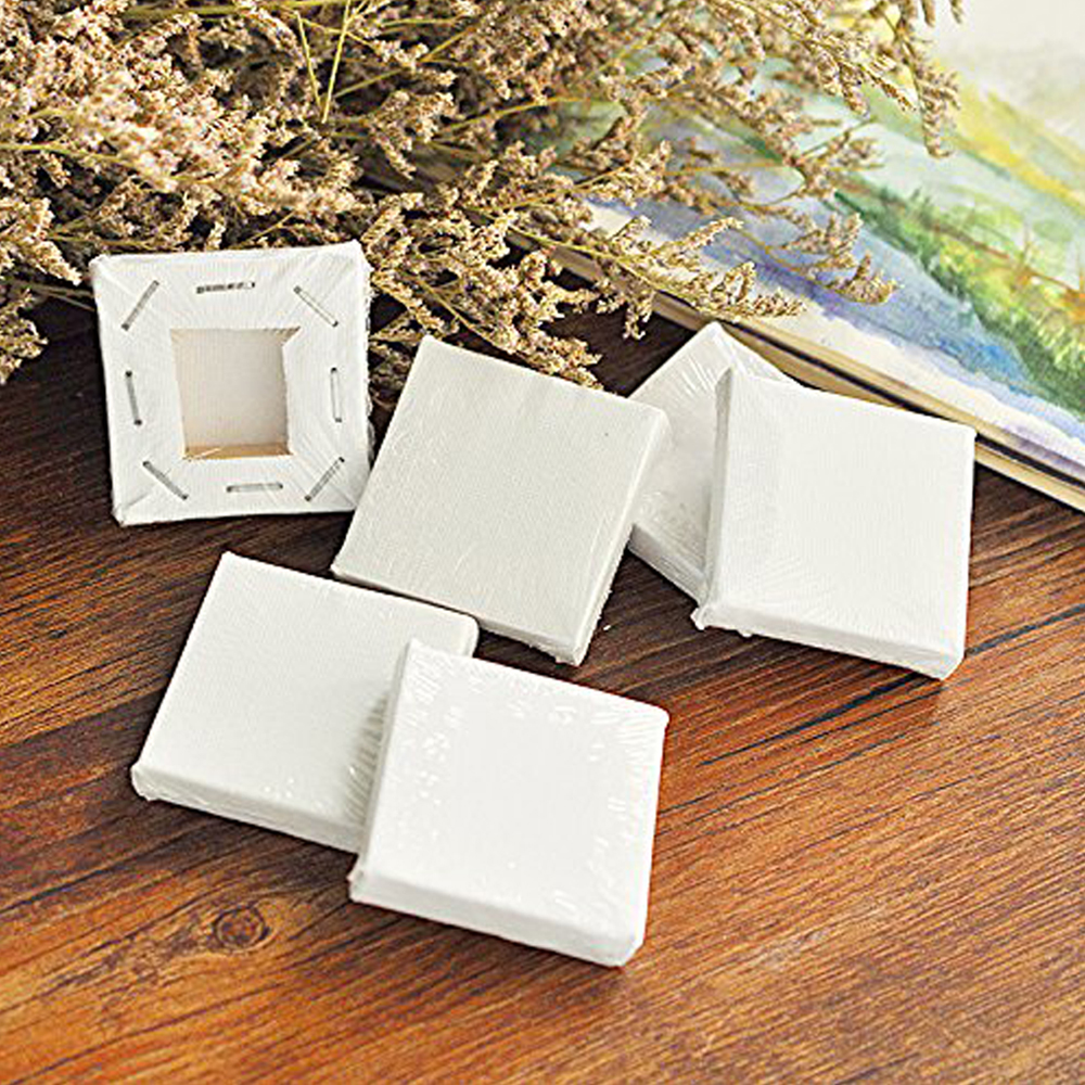 12Pcs Mini Canvas Art Drawing Board Blank Canvas Painting Crafts Wedding Table Numbers Painting Wooden Board for drawing 7x7cm