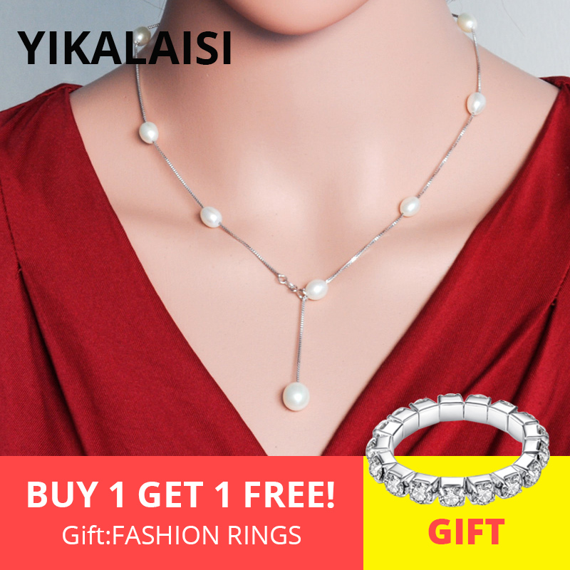 YIKALAISI 925 Sterling sølvkjede Naturlige perlekjede halskjeder Pandants Fashion Chokers For Women 7-8mm Pearl 2 Color