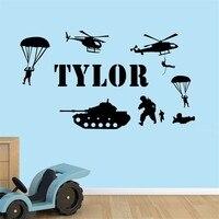 T04064 Verwisselbare Kids Nursery Jongens Kamer Decor Stickers Art Mural Decals voor jongens Aanpassen Naam Leger Soldaten Muurstickers