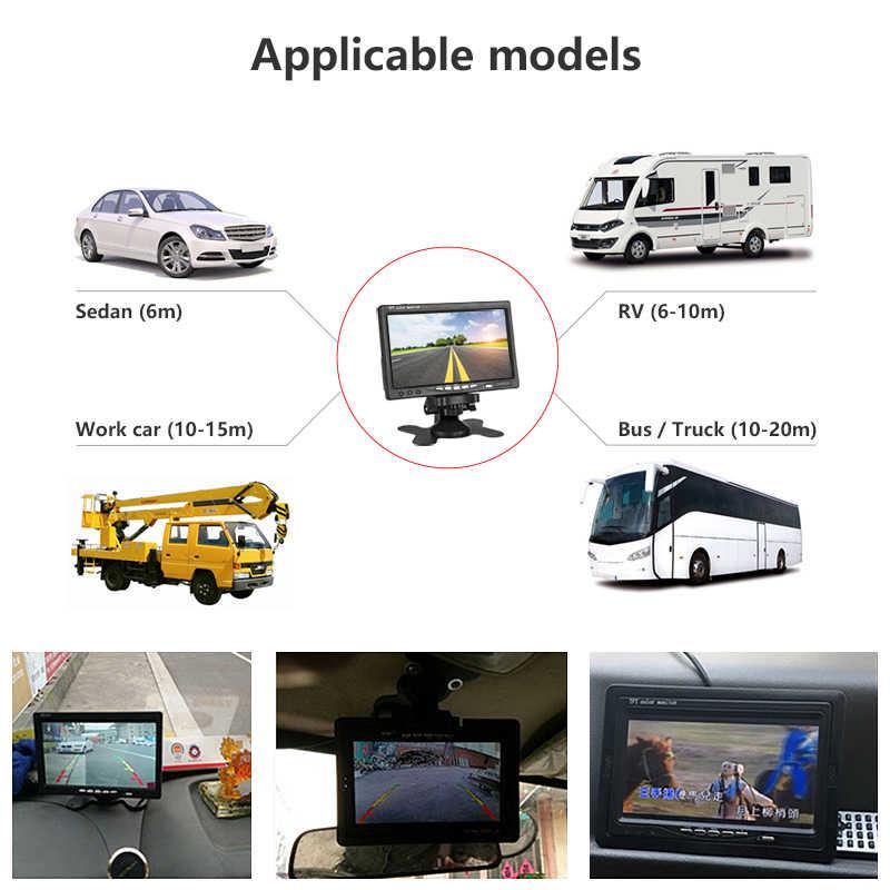 """Jmcq 7 """"TFT LCD Kabel Mobil Monitor Layar HD Kabel Reverse Kamera Sistem Parkir untuk Mobil Kaca Spion Monitor untuk truk dengan 2 Lensa"""