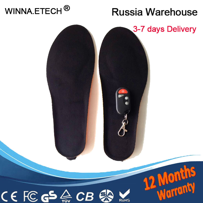 Electric Heated Insole Winter Thermal Shoes Boots Pad With Remote Control Orange Foam Material Memory Foam Heated Insoles new electric warm heated insole with remote control winter breathable thick plush insoles shoes boots soles foam material 2000ma