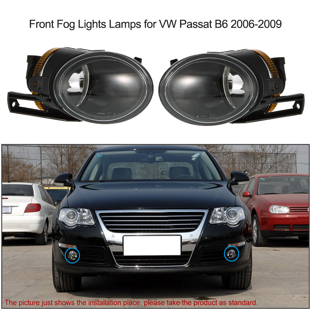 Car Fog Light for VW Passat B6 2006-2009 Car-styling Clear Lens Left & Right Front Fog Lights Lamps Car-detector Replacement Kit runmade 1pair fog lights for 2006 2010 vw passat b6 3c clear lens front fog lamp driving lamp left