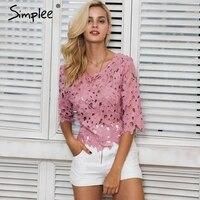 Simplee Backless koronkowa bluzka damska bluzki Lato hollow out biała koszula bluzka bluzka blusas femme Eleganckie sexy kwiat