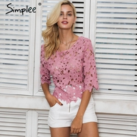 Simplee Backless Lace Blouse Shirt Women Tops Summer Hollow Out White Shirt Blouse Chemise Femme Elegant