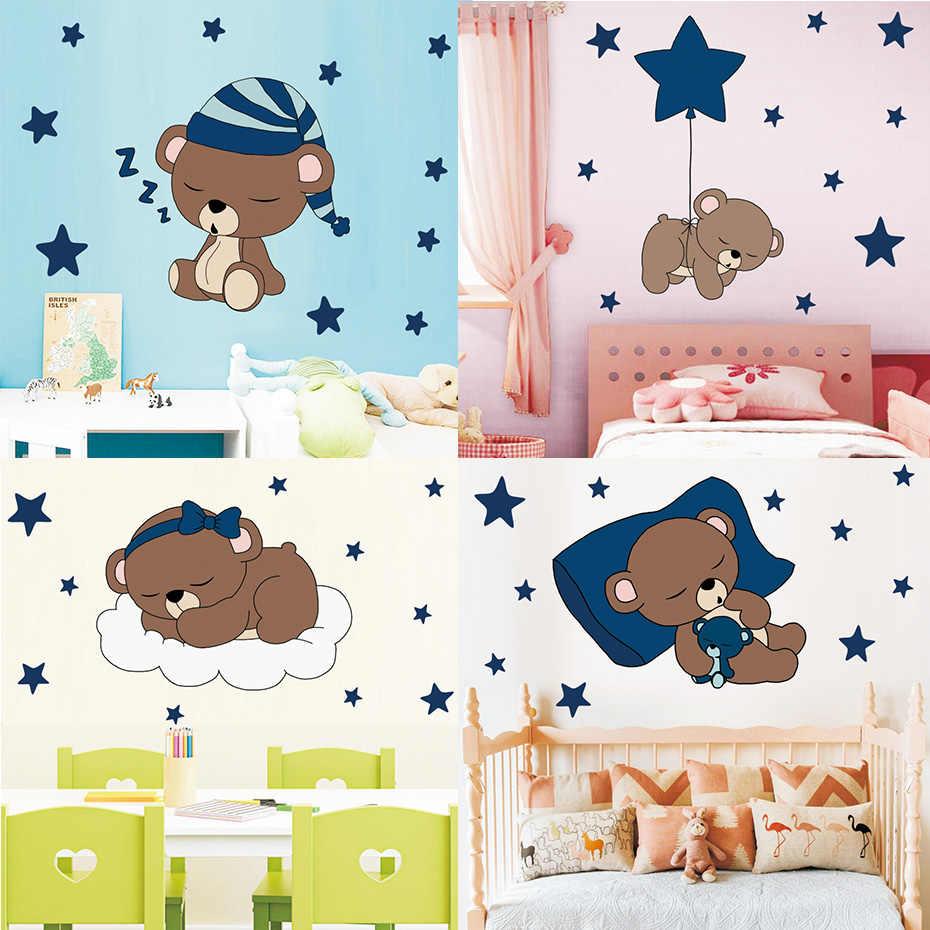 Lucu Cukup Tidur Beruang Dengan Stiker Dinding Bintang Anak
