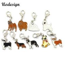00816531b DIY Enamel pet collar jewelry wholesale, alloy dog charm pendants Bulldog  golden retriever Tidy Samoyed