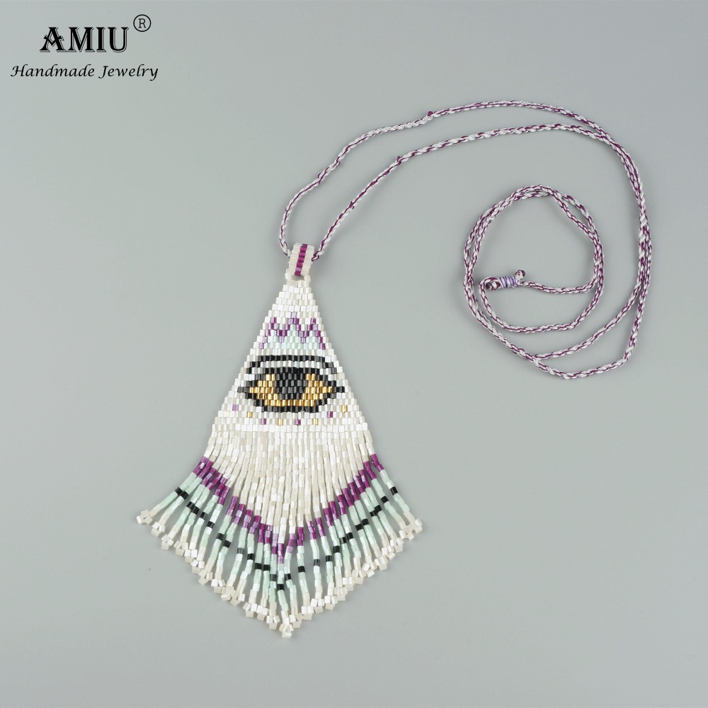 AMIU Handmade Evil Eye Necklace Bohemian Style Women Fashion Charm Jewelry Trendy Ethnic Beads Handmade Long Tassel Necklace ethnic style alloy water drop beads necklace for women