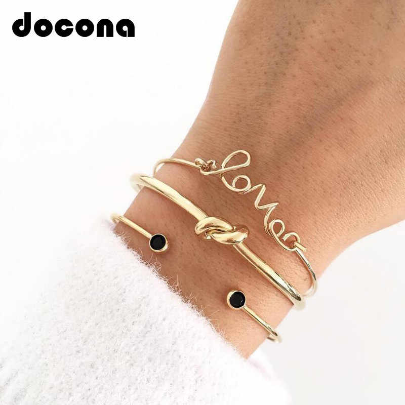 Docona 3pcTrendy Bohemia Letter Love Knot Hand Cuff Link Chain Charm Bracelet Bangle for Women Gold Bracelets Femme Jewelry 6387