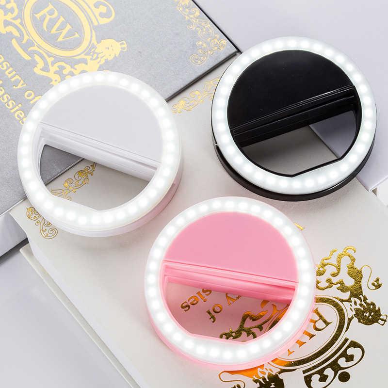 Litwod Z90 Led 3 Modes Aangepast Selfie Ring Flash Light Camera Enhancing Fotografie Lichtgevende Lamp Voor Iphone Huawei Een Plus